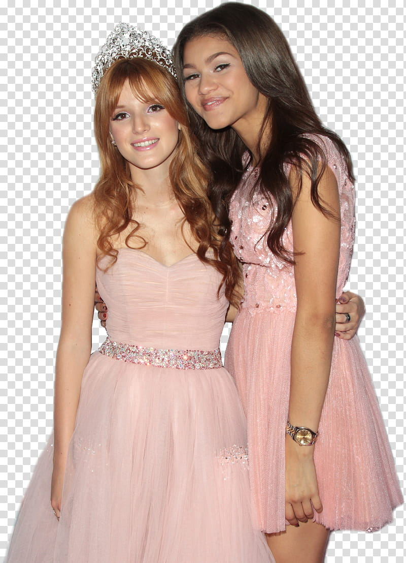 Bella Thorne, two women standing while hugging each other.