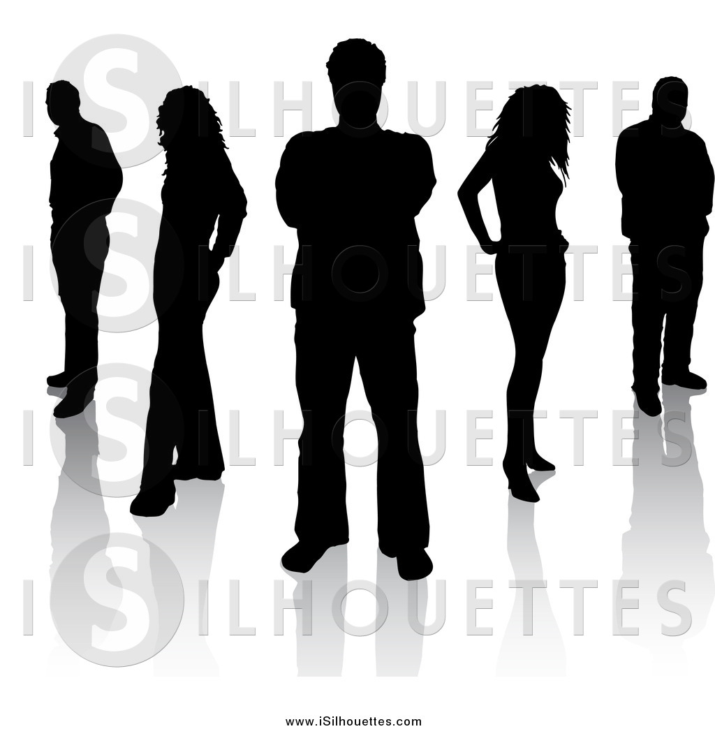 Clipart of Black Silhouetted Men and Women Standing with.