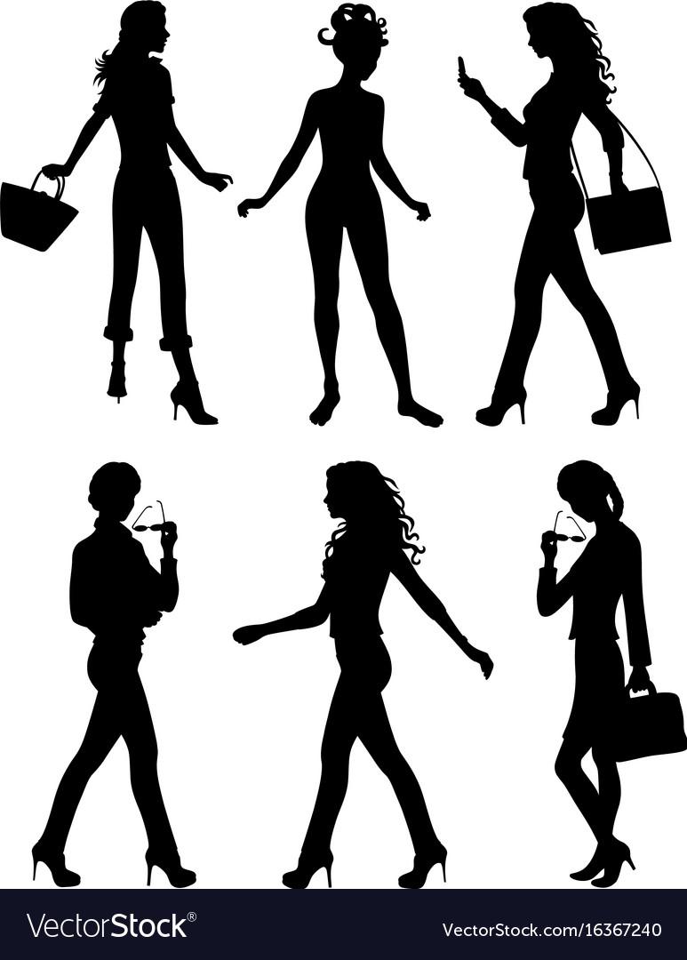 Shadows of six women standing.
