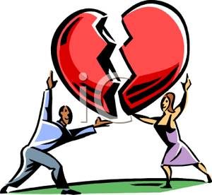 A Man and Woman Putting Together a Broken Heart Clipart Image.