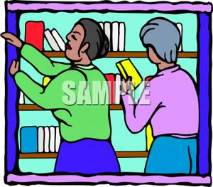 Two Women Putting Books on a Bookshelf.
