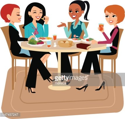 Women Having Lunch Together Clipart Image.