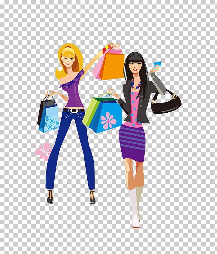 Shopping Fashion Girl Dress, Women shopping together PNG.