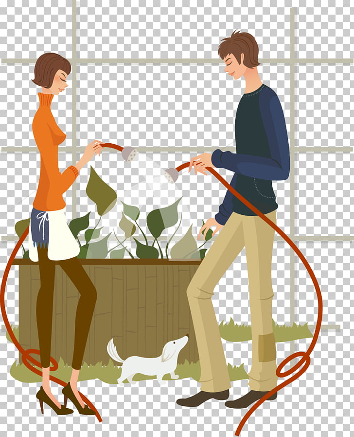 Drawing , Watering together men and women PNG clipart.