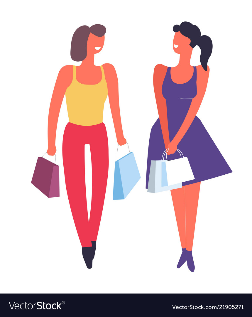 Female friends shopping together buying clothes.