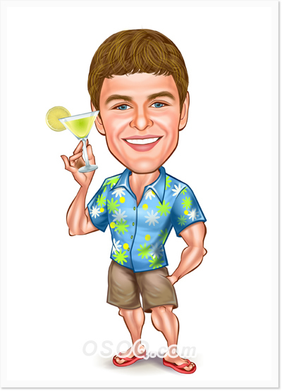 Travel Vacation Caricature.