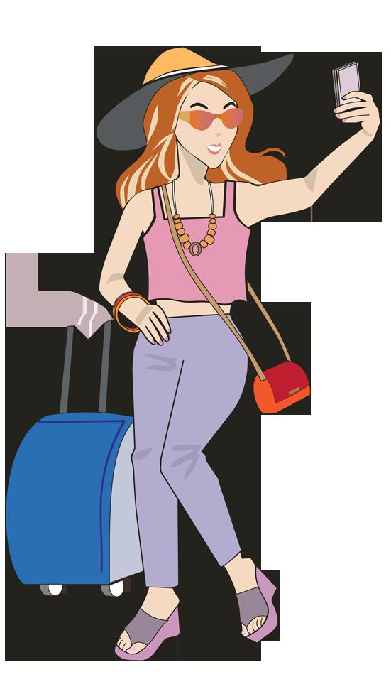Traveling clipart woman traveler, Traveling woman traveler.