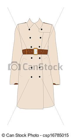 Vector Clip Art of ladies simple trench coat.