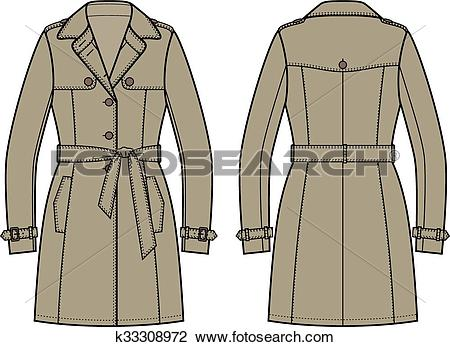 Clipart of Trench coat for women k33308972.
