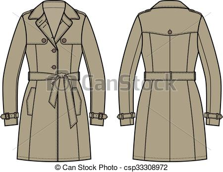 Vectors Illustration of Trench coat for women.
