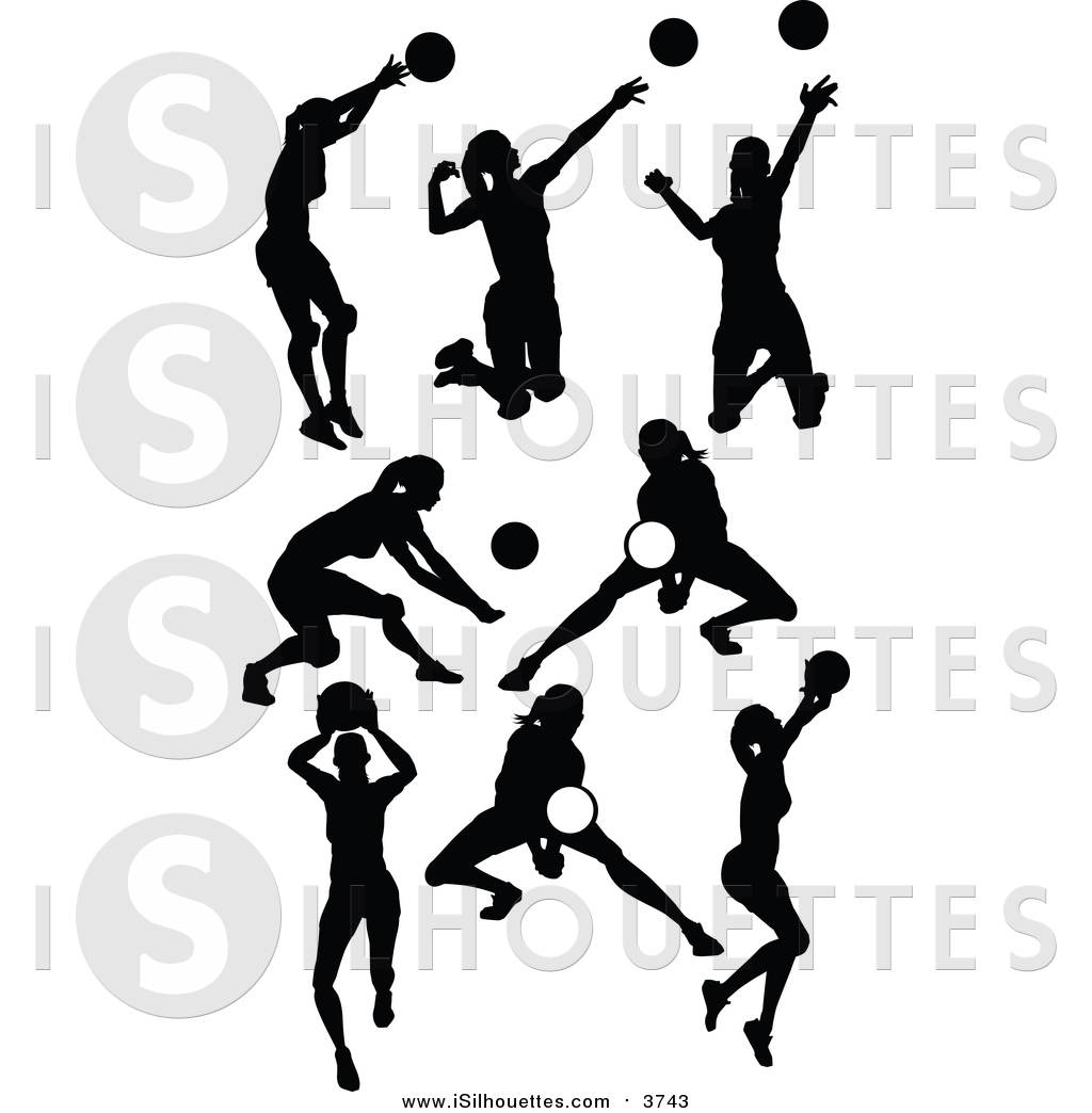 Clipart of Black Silhouetted Female Volleyball Players by.