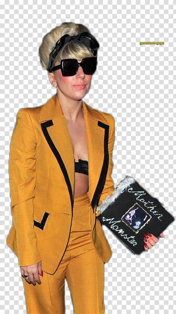 Lady GaGa, woman wearing brown blazer holding black purse.