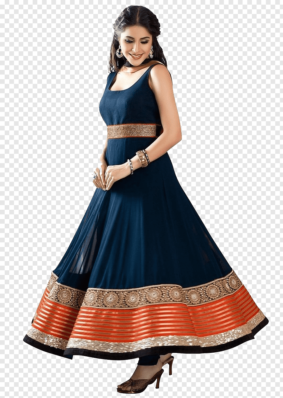 Women\'s blue and orange tank maxi dress, Anarkali Salwar.