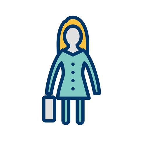 Women With Briefcase Vector Icon.