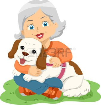 old ladies with pets: Illustration of a Female Senior.