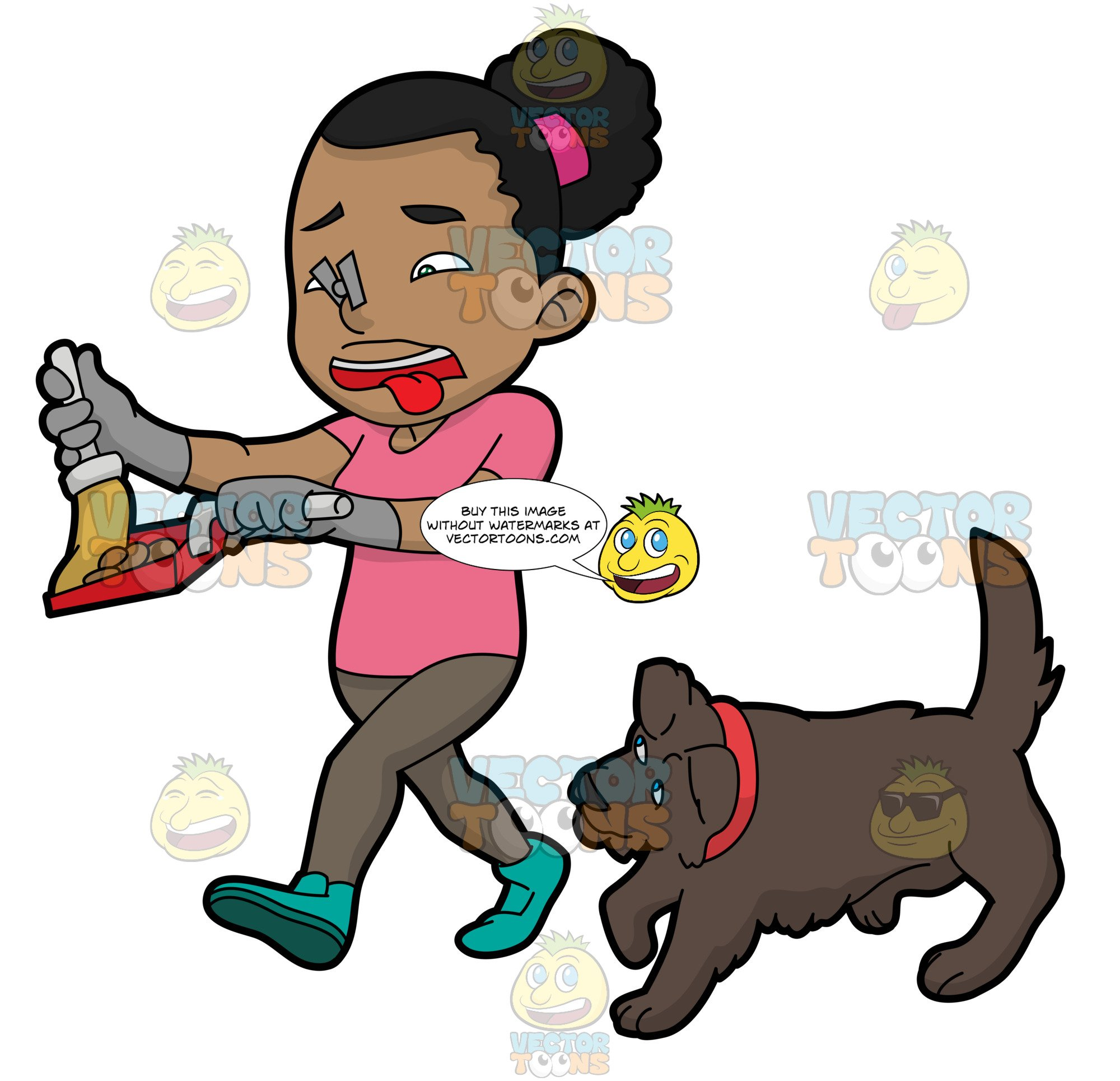 A Black Woman Picking Up The Poop Of Her Dog.
