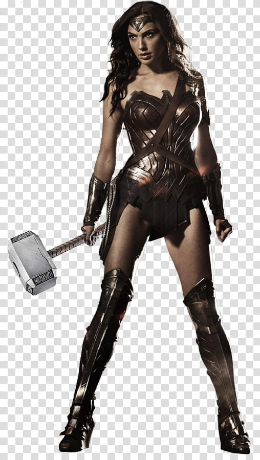Wonder Woman W Thor Hammer Render transparent background PNG.