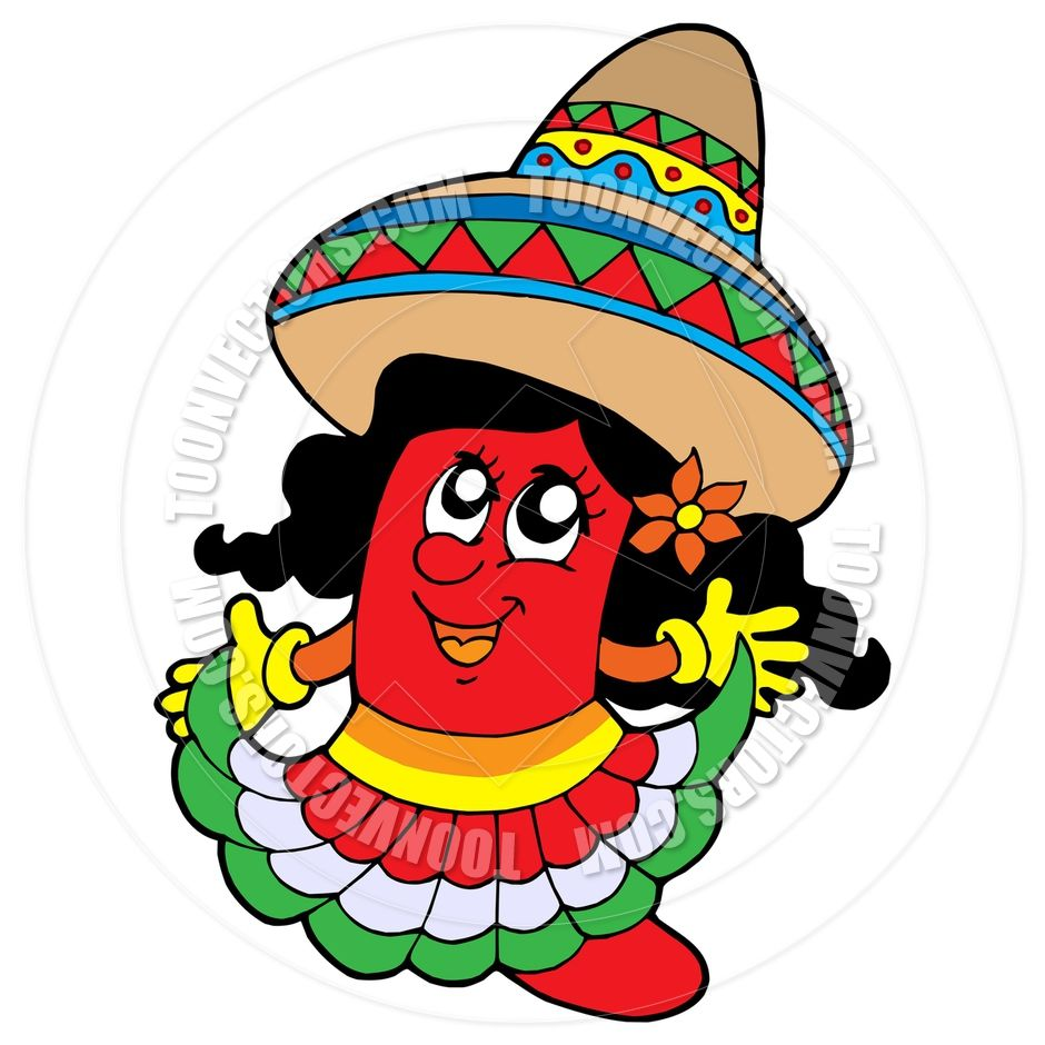 cartoon of a chili pepper in woman clothes image.