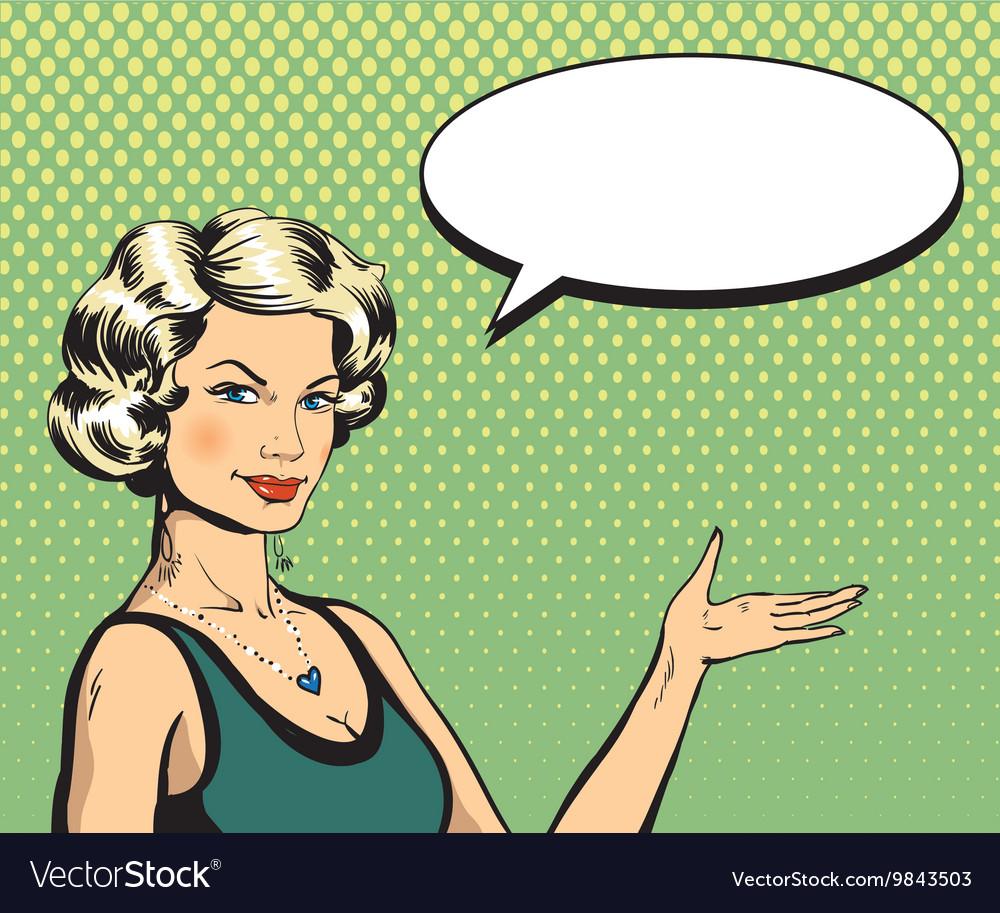 Woman with speech bubble in retro pop art style.
