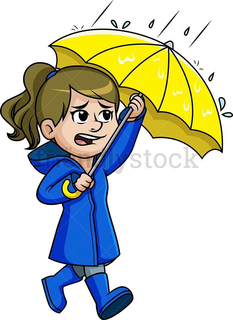 Woman Walking In The Rain.