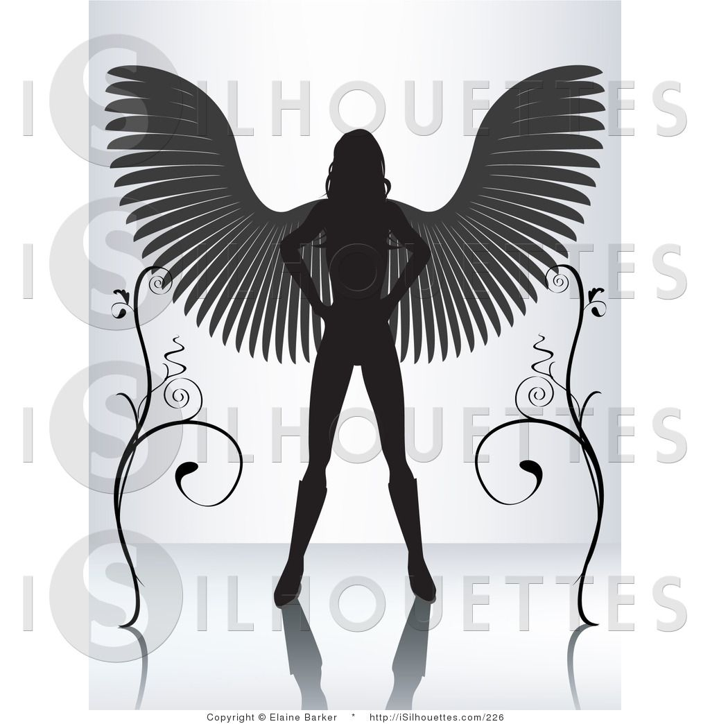 Silhouette Clipart of a Silhouetted Black Female Angel.