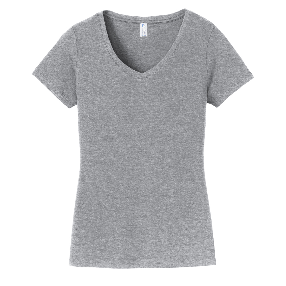 Athletic Heather Grey Ladies V Neck Tee Shirt 90% Cotton.
