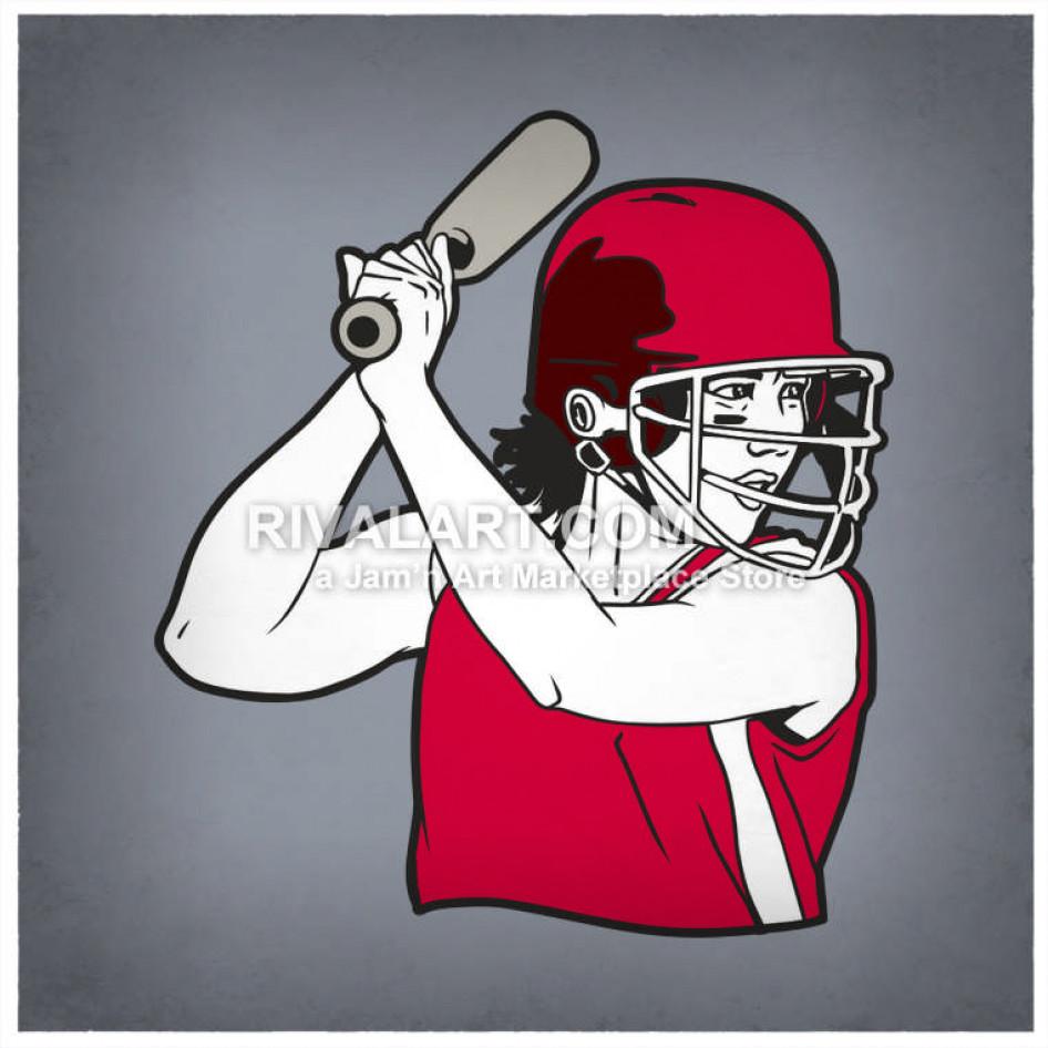 Woman Womens Softball Player Batter Batting At Girls Helmet.