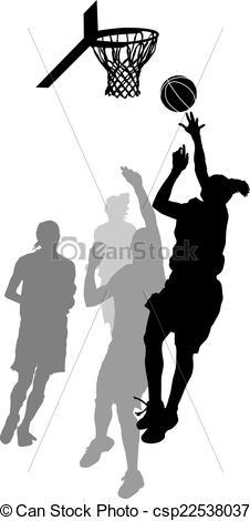 Vectors of Women's Basketball Layup.