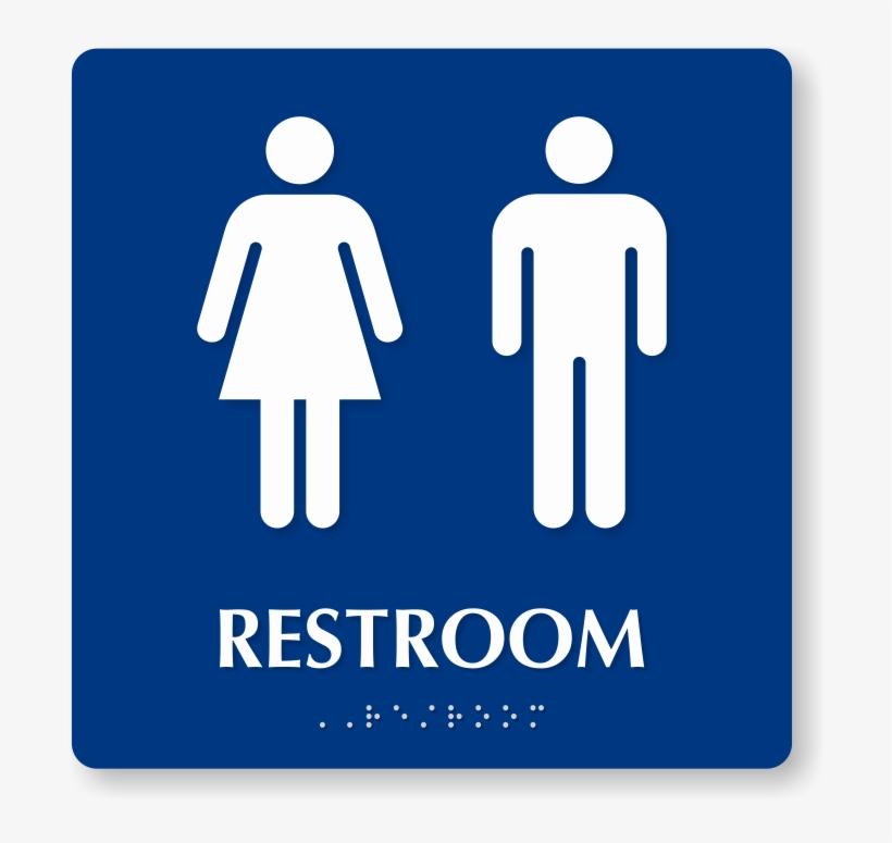 Men And Women Pictogram Braille Unisex Restroom Sign.