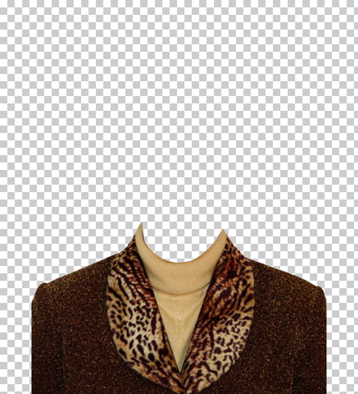 Costume Document Suit, Women\'s high collar brown PNG clipart.