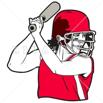 Sports Clipart Image of Softball Player Pretty Girl College.