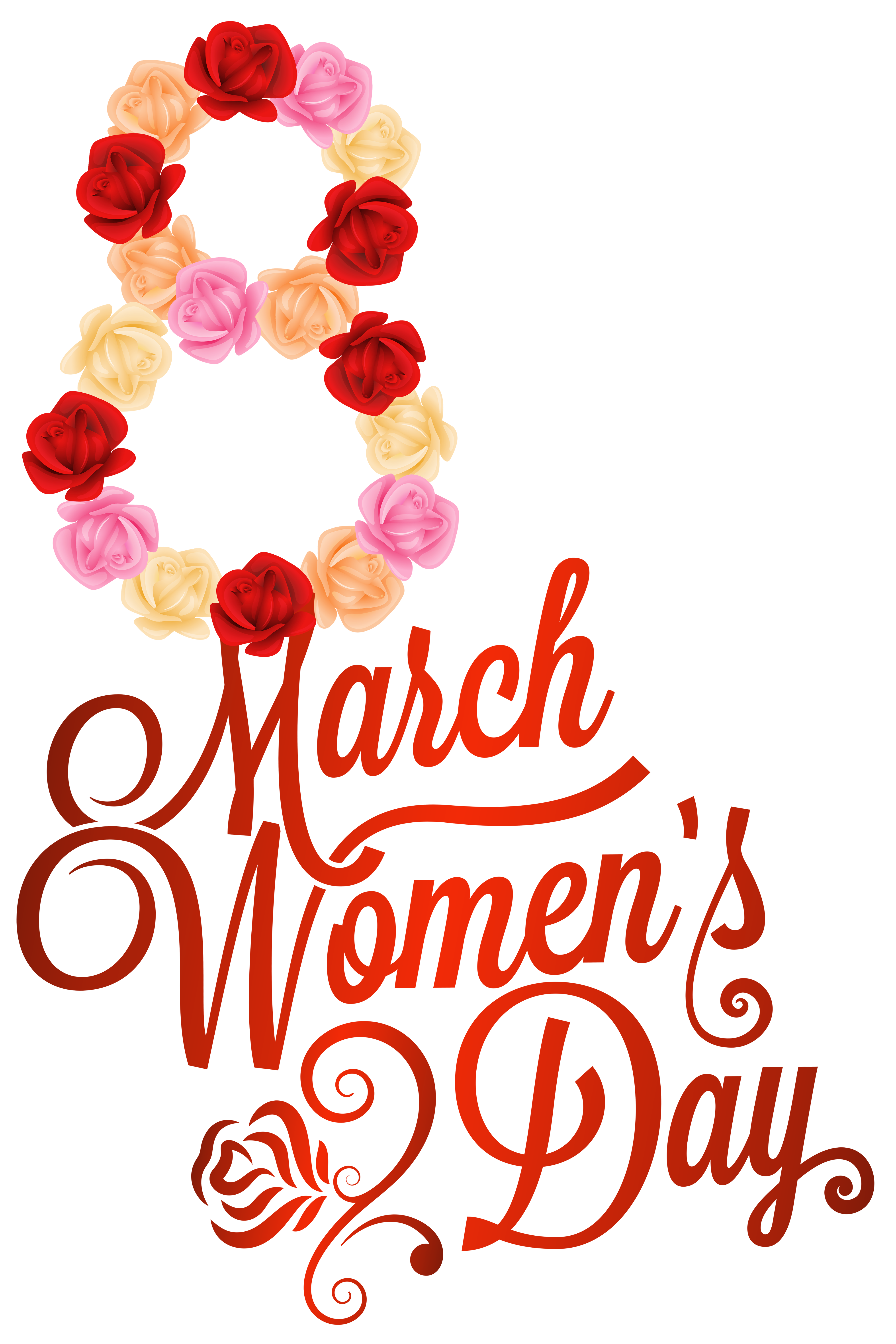 Red 8 March Womens Day PNG Clipart Image.