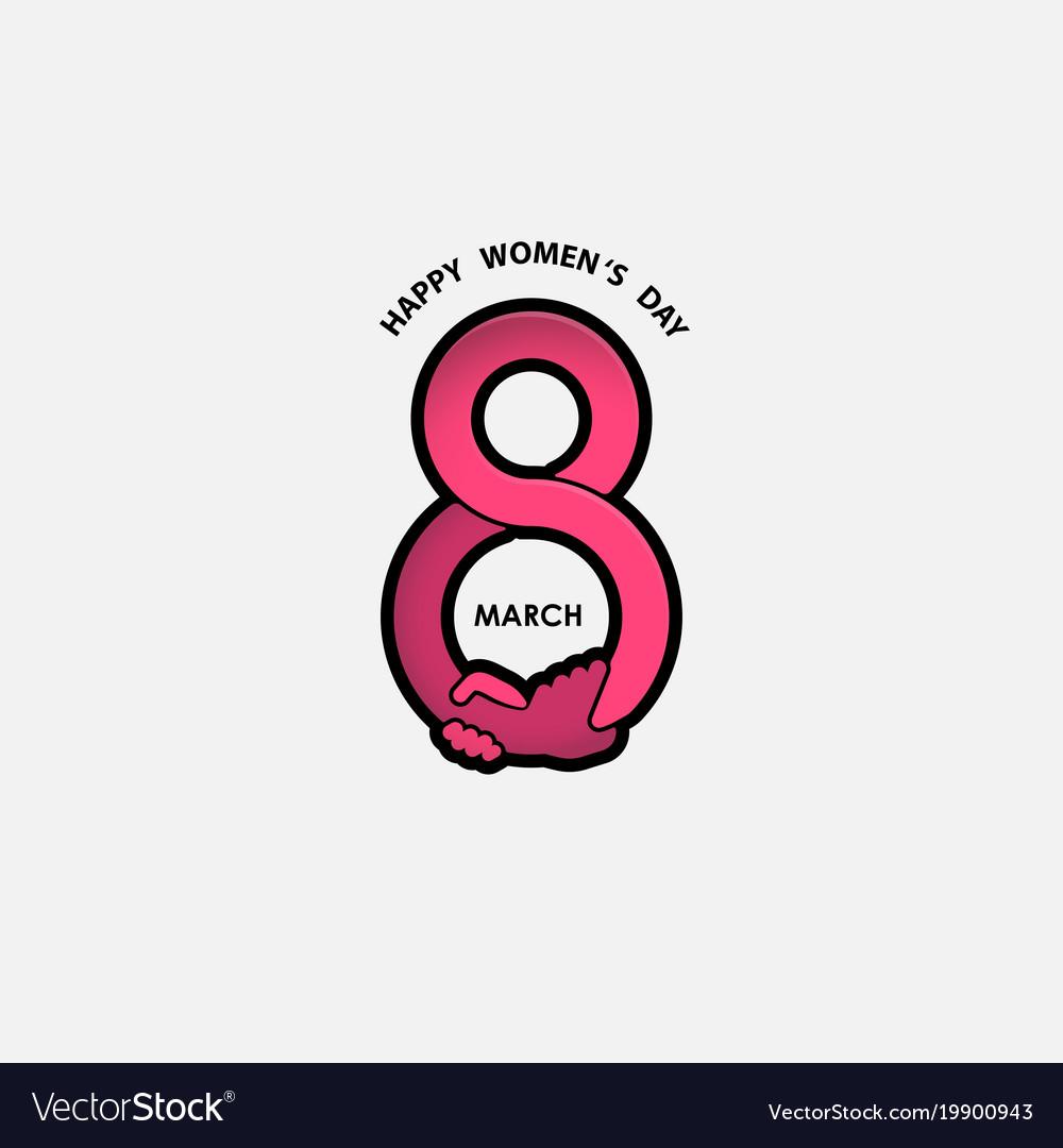 Creative 8 march logo with international women day.