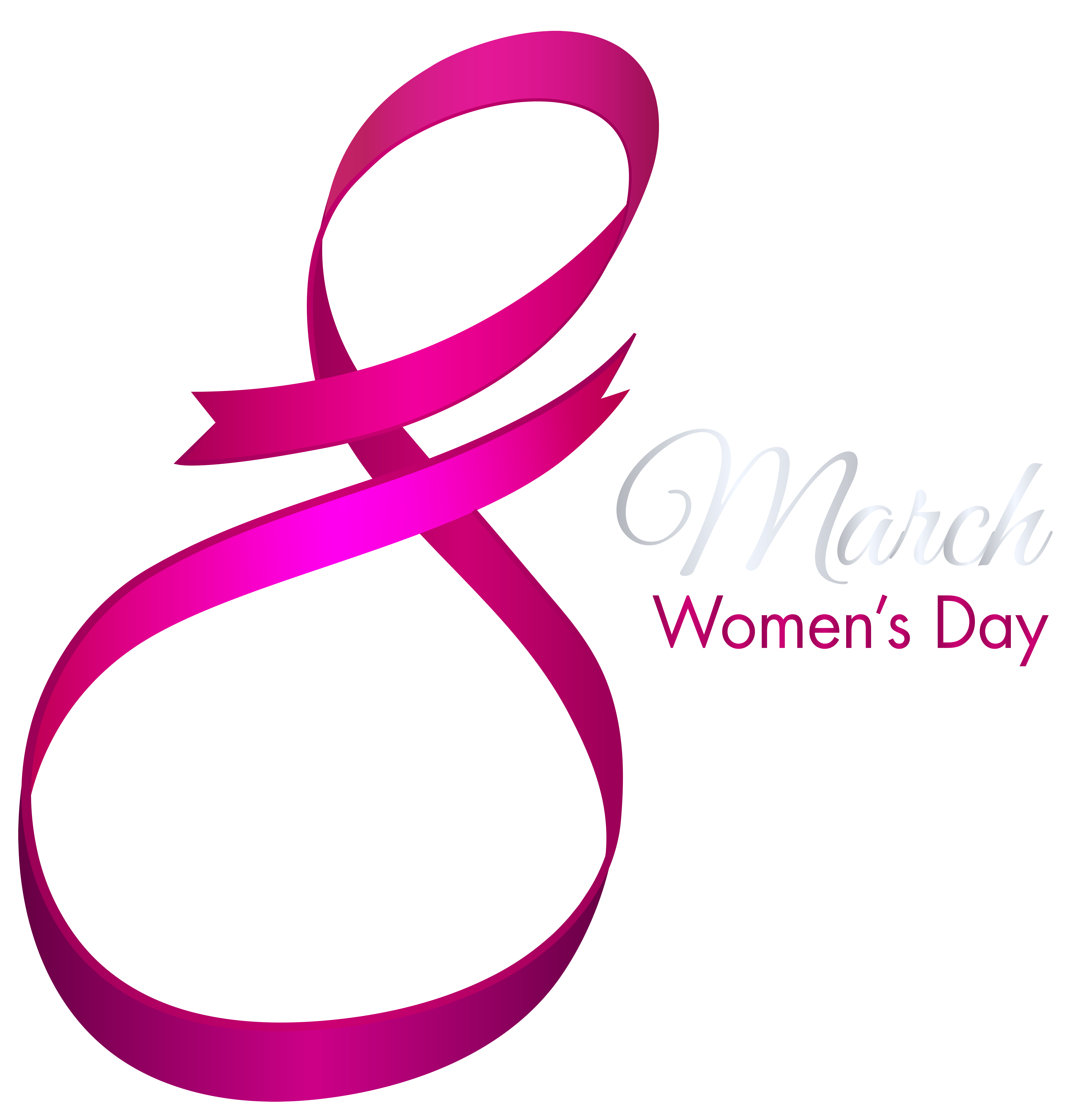 Happy March 8 Womens Day PNG Clip Art Image.