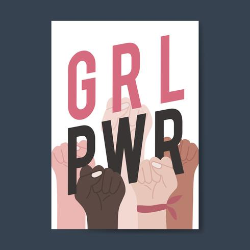 Girl power with diverse fists vector.
