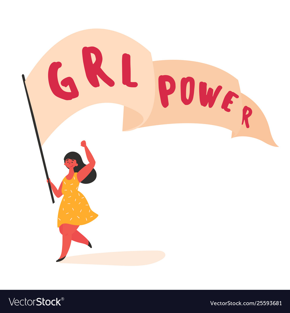 Woman with girl grl power streamer cutting ready.