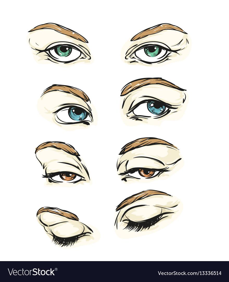 Hand drawn womens eyes vintage.