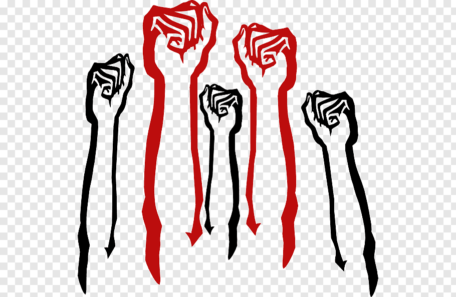 Two red and three black fists art, Self.
