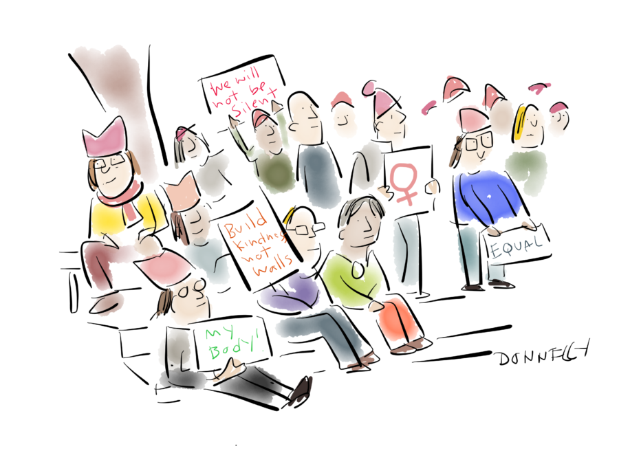 A Sea Of Pink Hats: Drawing The Women\'s March, January 22.