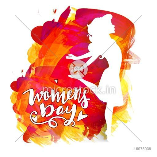 Creative white illustration of a young girl on colorful paint stroke  background for Happy Women\\\'s Day celebration..