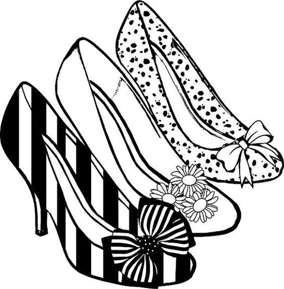 Womens high heel shoes png clip art coloring page digital stamp.