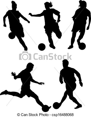 Stock Illustration of men and women soccer players vector.