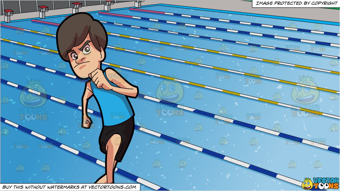 A Man On A Track Race and Outdoor Competition Swimming Pool Background.