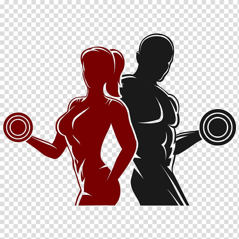 Woman and man holding dumbbells , Logo Physical fitness.