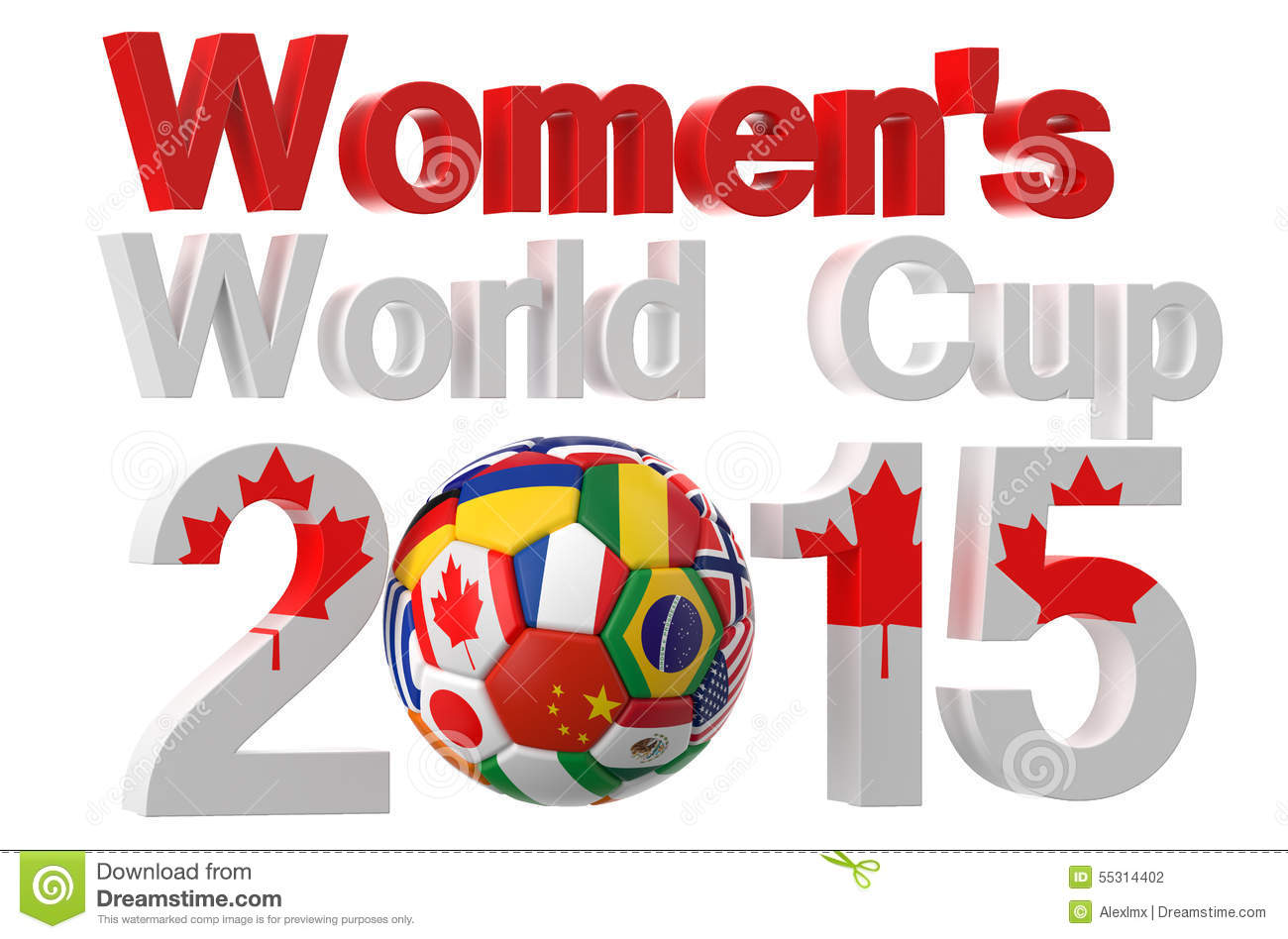 Football Womens World Cup Canada 2015 Stock Illustration.