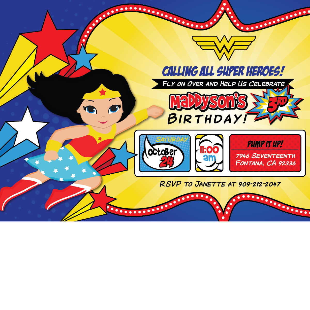 Wonder Woman Birthday Clipart.