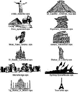 Seven wonders of the world clipart.