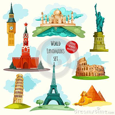 Travel Concept Around The World. Famous International Landmarks.