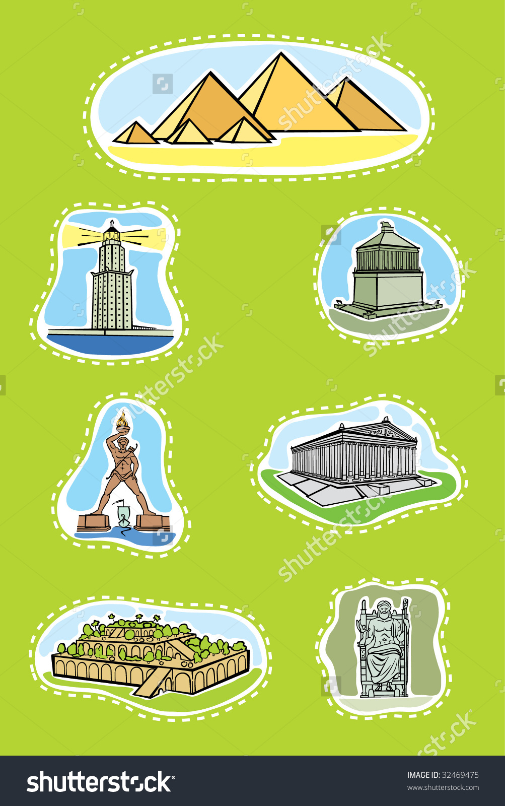 7 wonders ancient world clipart.