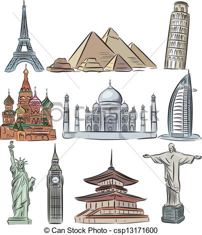 Vector Clipart of Architectural wonders of the world vector.
